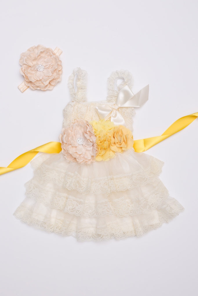 Ivory & Yellow Lace Dress, Headband & Sash Set