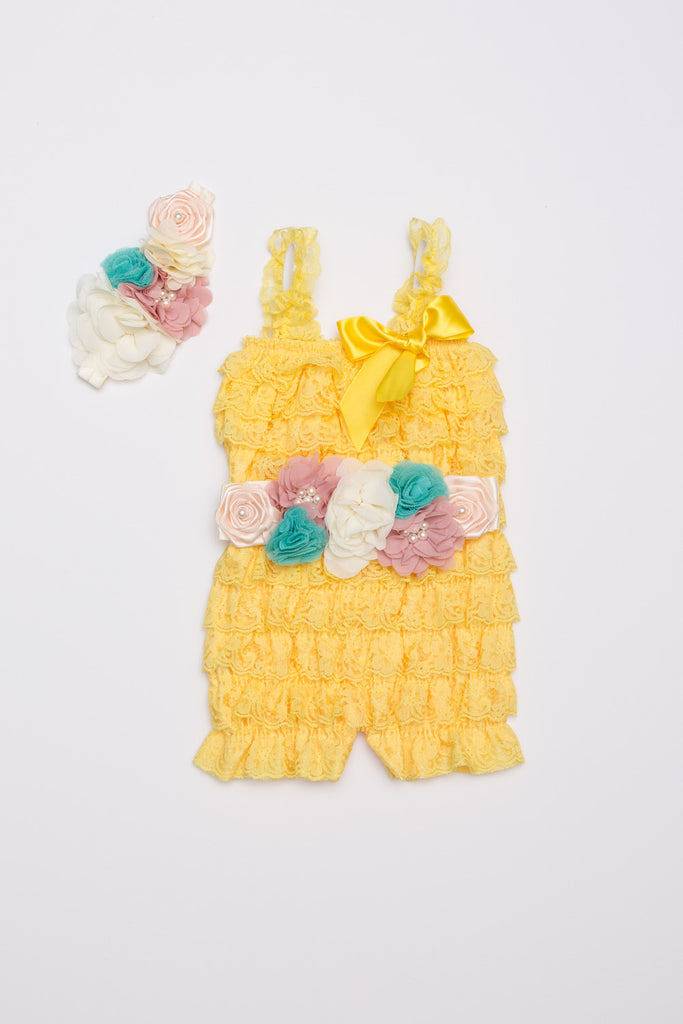 Yellow Lace Romper Outift