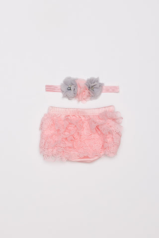 Lace Bloomer & Headband Set - Light Pink