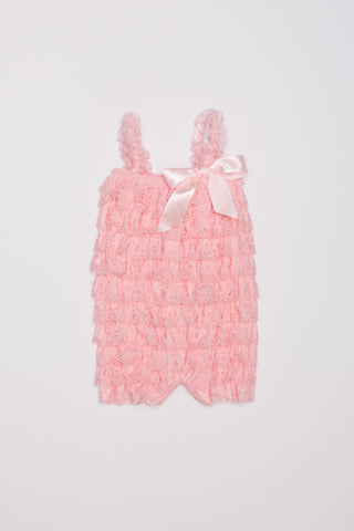 Lace Ruffle Romper - Light Pink