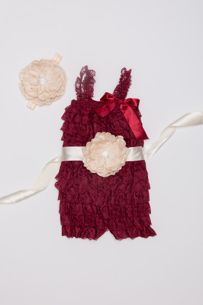 Burgundy & Ivory Lace Romper Outift