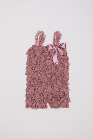 Lace Ruffle Romper - Dusty Pink