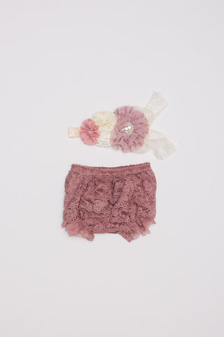 Lace Bloomer & Headband Set - Mauve