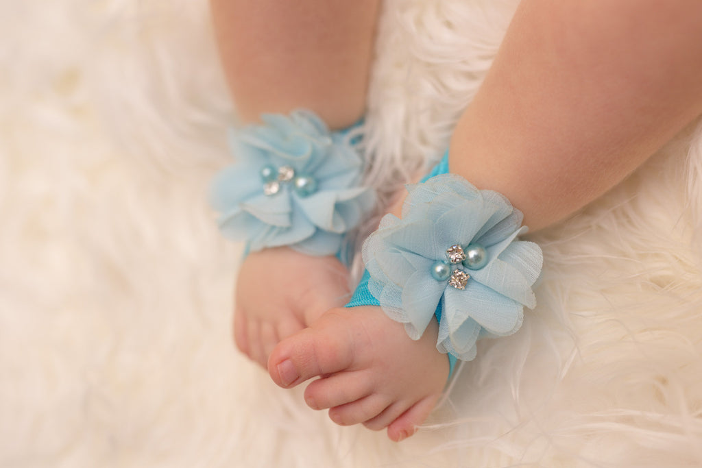 Light Blue Barefoot Baby Sandals