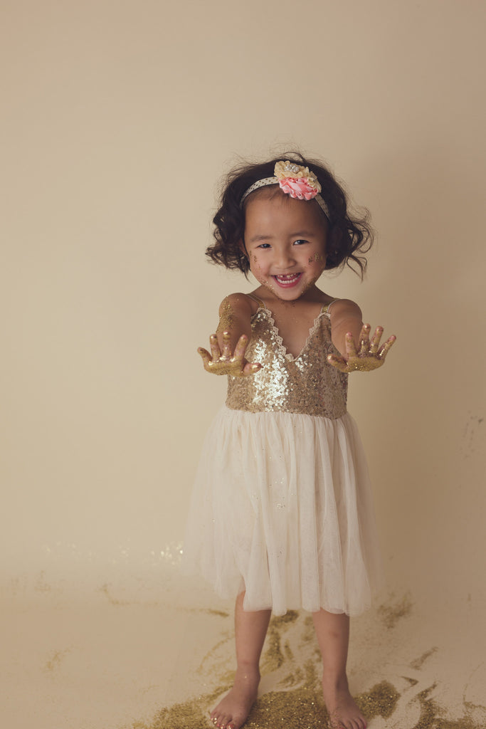 Melody - Gold Sequin Tulle Dress