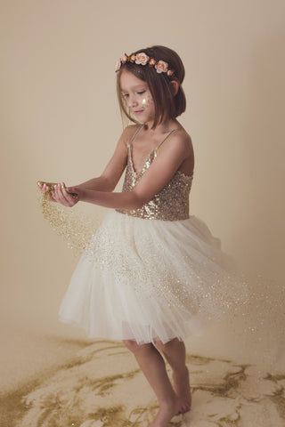 Serenity - Gold Sequin Tulle Dress, Ivory