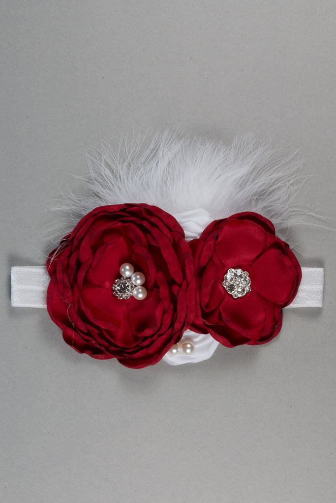 Gorgeous Flower Headband - Red & White