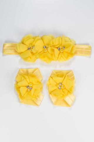 Baby Barefoot & Headband Set - Yellow