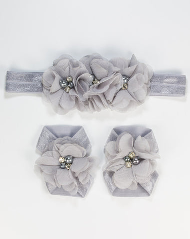 Baby Barefoot & Headband Set - Gray