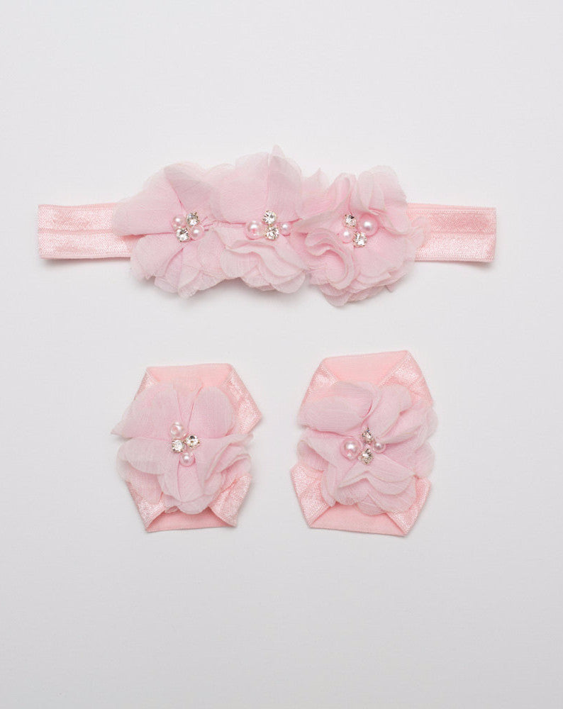 Baby Barefoot & Headband Set - Light Pink