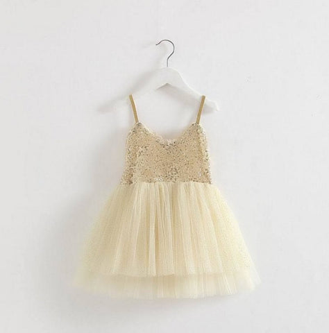 Light Gold Sequin Tank Tutu Dress - Baby, Toddler & Girls