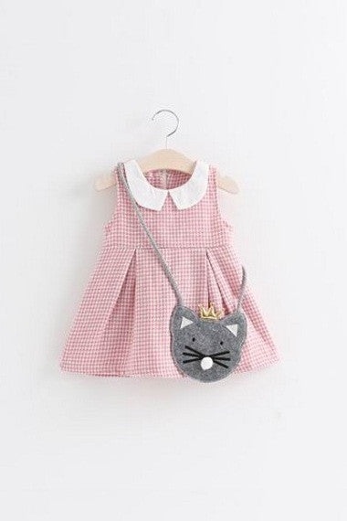Pink Plaid Dress With Mouse Bag