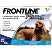 Frontline Plus Blue 23-44lbs Dogs 3 pk