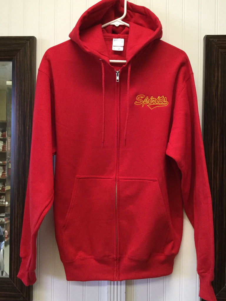 Zip Hooded Sweatshirt Jacket Red