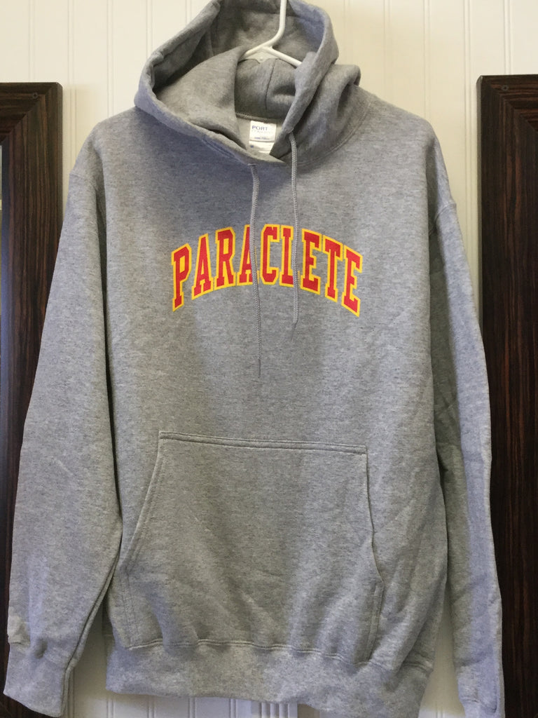 Sweatshirt Hooded Lt. Heather Grey w/ red on gold PARACLETE