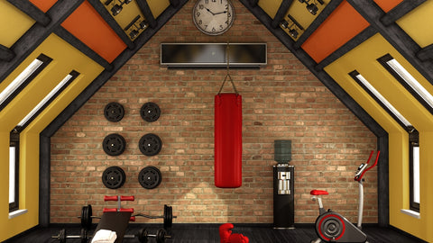 gym equipments with large exercise mat