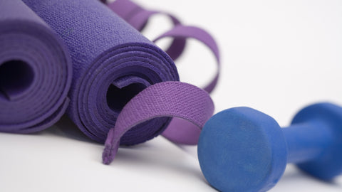 exercise mat and dumbell