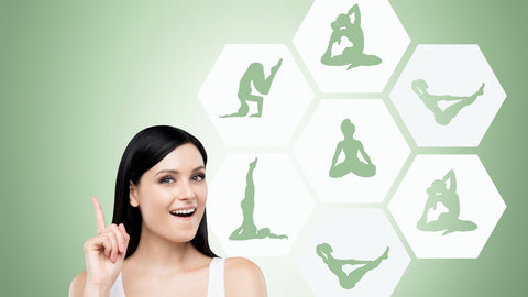 woman showing different yoga mat poses