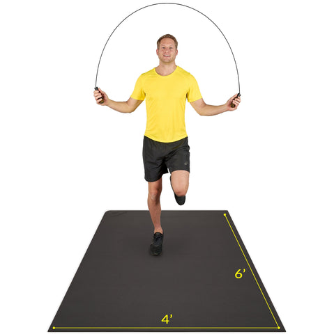 Man using Active Gear's thick workout mat in black using home workout essential skipping rope