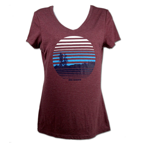 Ascent - V-Neck T-Shirt - Womens - Maroon Frost