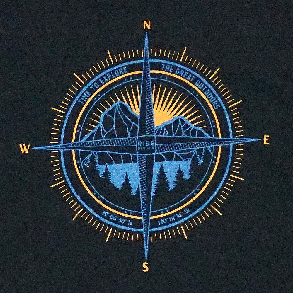 The Great Outdoors Compass T-Shirt - Mens - Jet Black