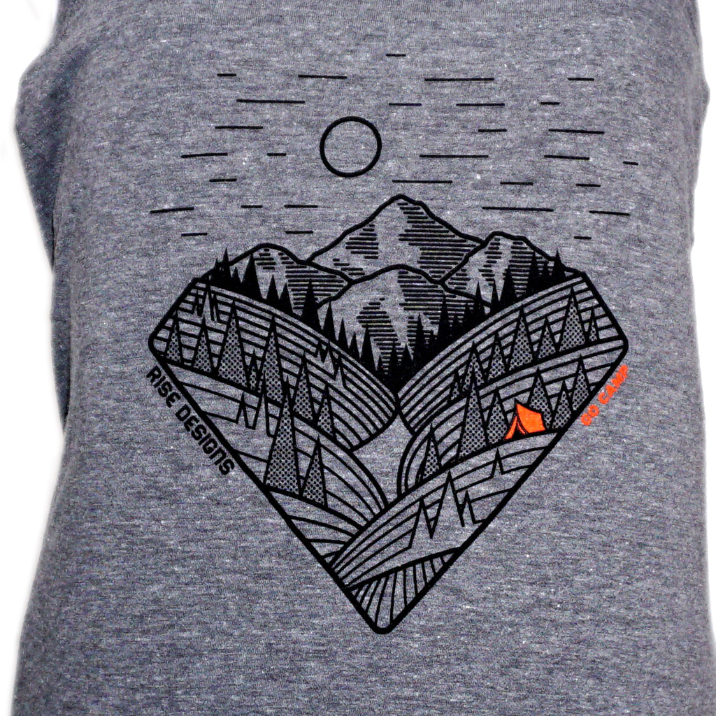 Go Camp! - Racerback Tank Top - Womens - Grey Frost