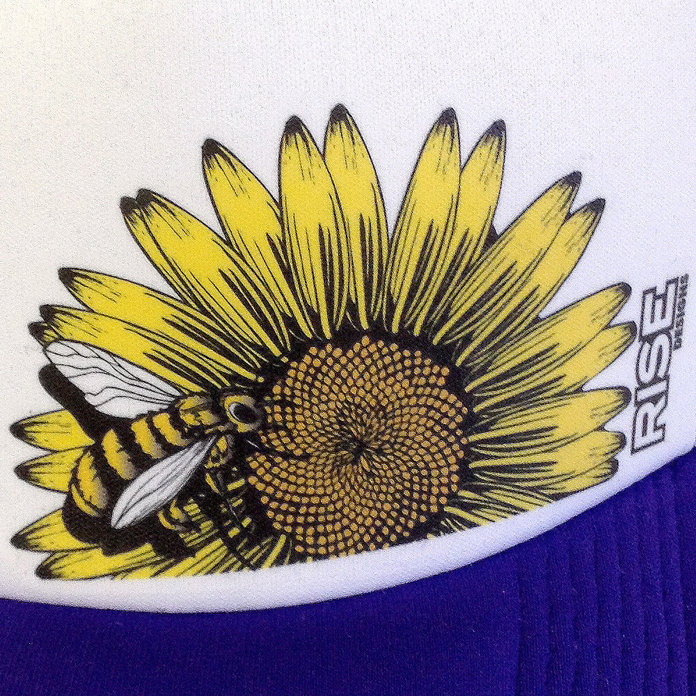 Bee Flower Trucker Hat - Purple/White