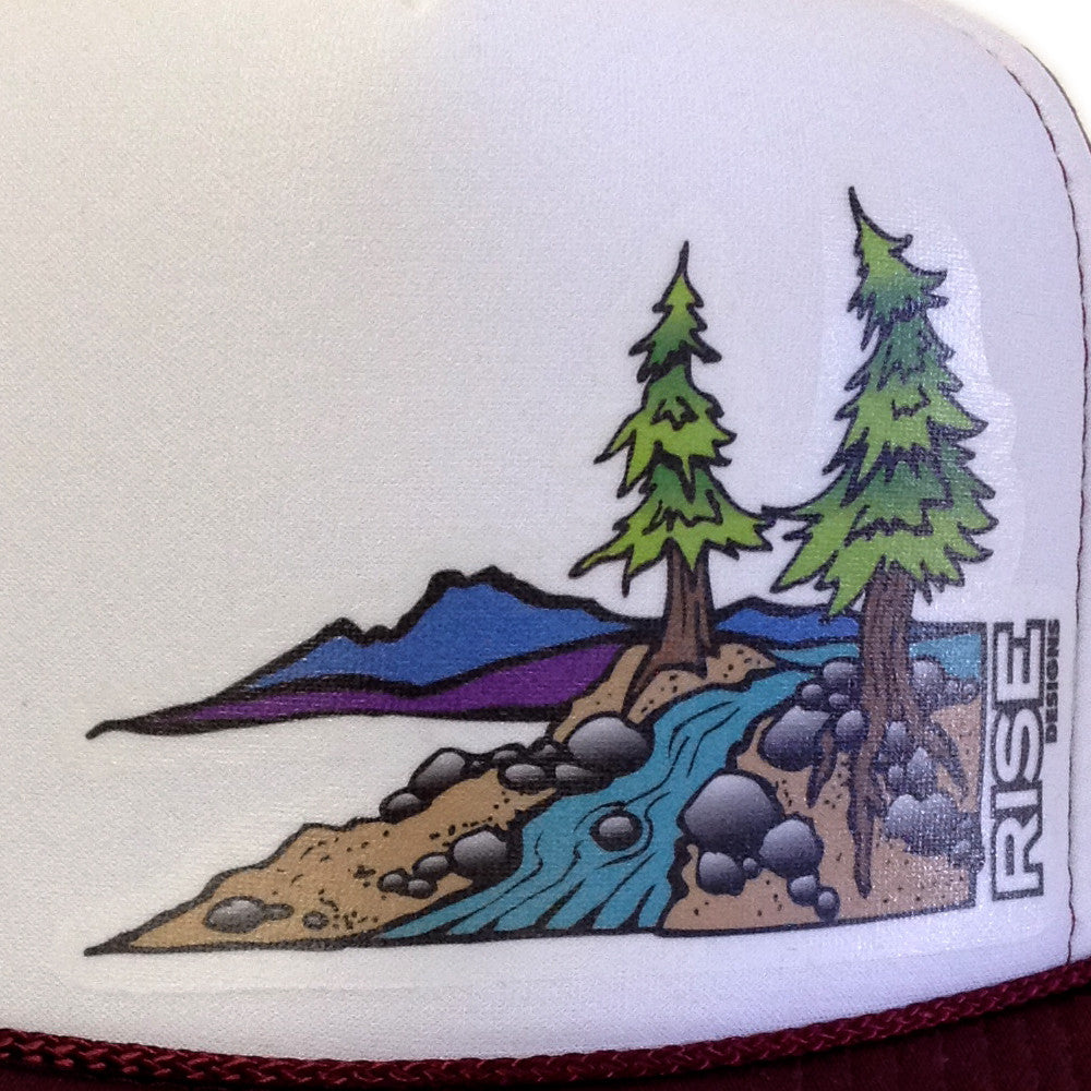 Truckee River Trucker Hat - Maroon/White