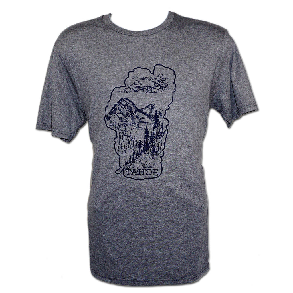 Lake Tahoe Nature T-Shirt - Mens - Grey Frost