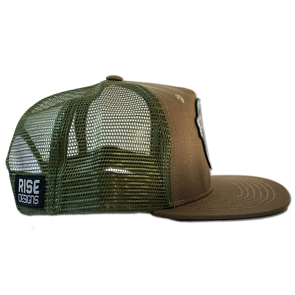 The Brewski Snapback Hat - Dark Tan/Olive