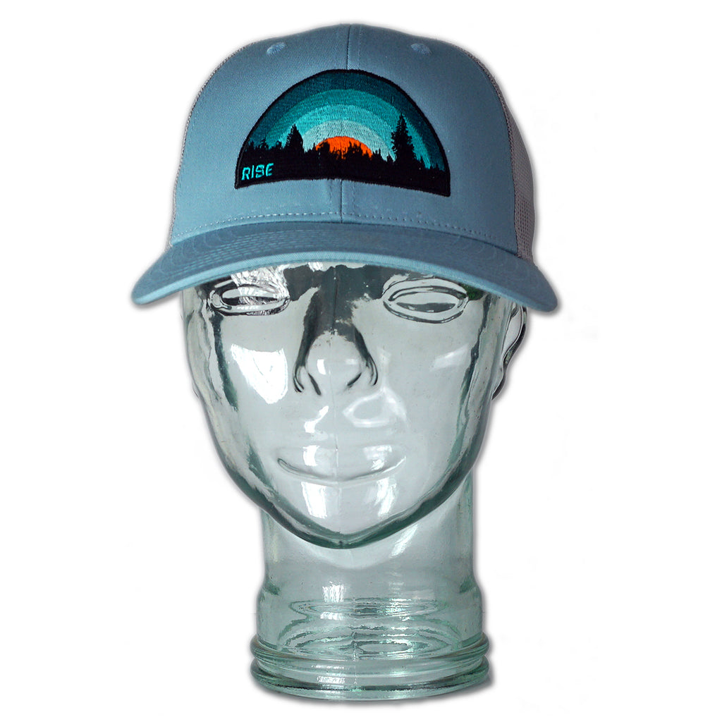 Turquoise Sunset - Trucker Hat - Light Blue/Aluminum