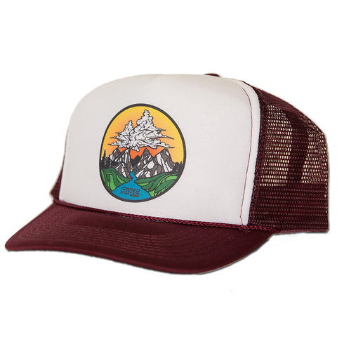 Cloud Mountain Trucker Hat - Maroon/White