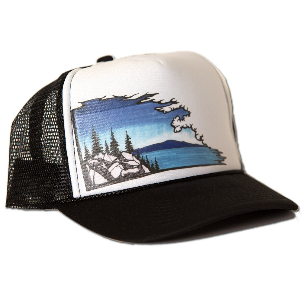 Lake Cloudscape Trucker Hat - White/Black
