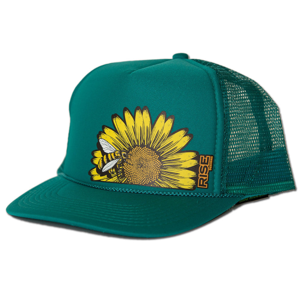 Sunflower Bee Trucker Hat - Jade