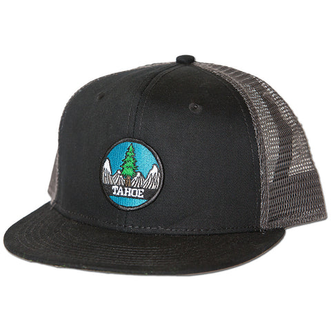 Tahoe Tree Circle Snapback Hat - Charcoal/Black
