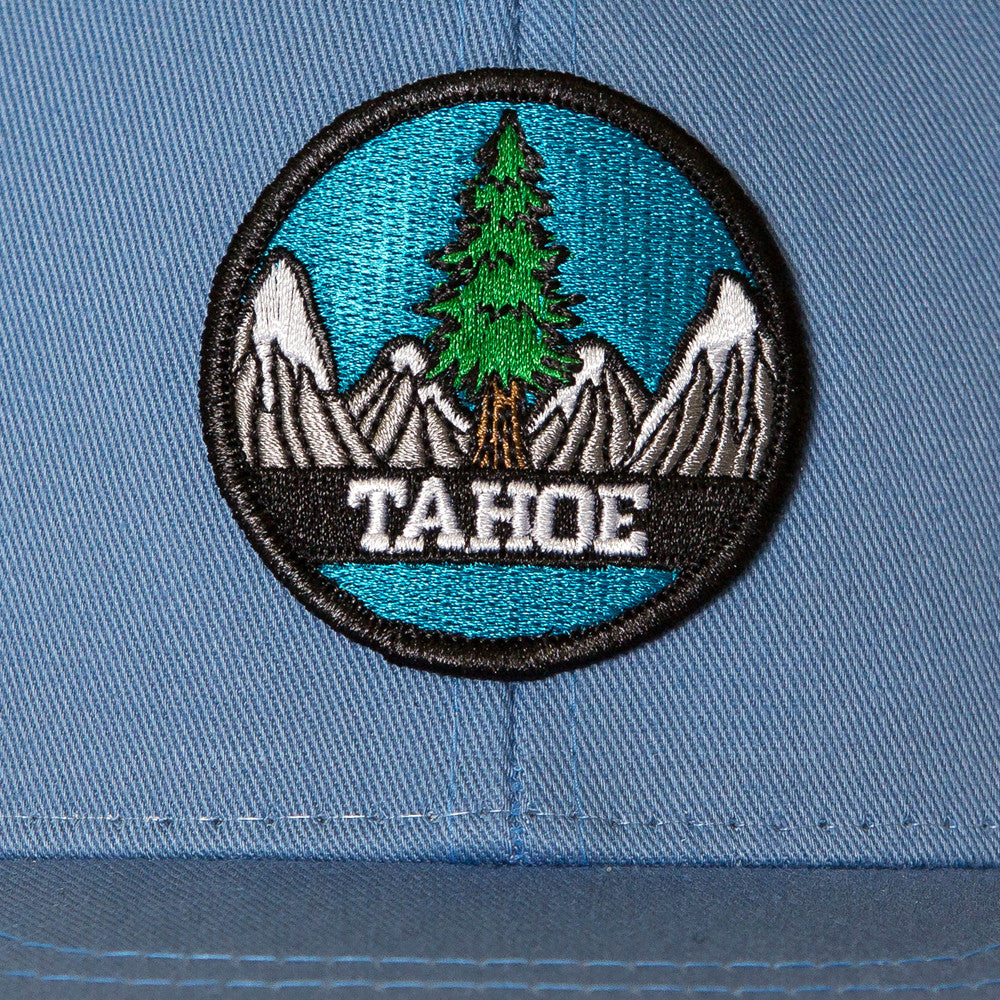 Tahoe Tree Circle Snapback Hat - Sky Blue/White