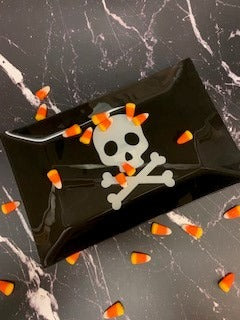 Halloween skull plate with chocolates