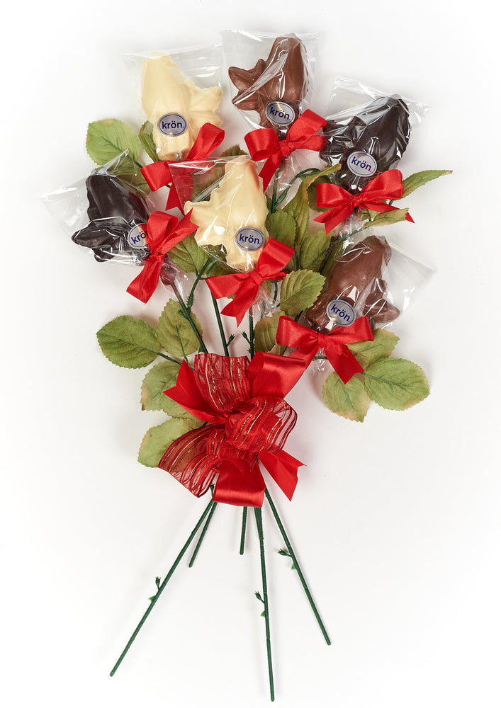 Long stem Gourmet Chocolate Roses, half dozen