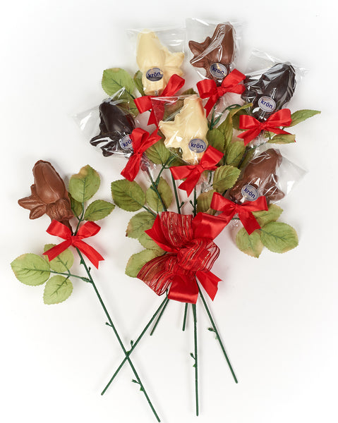 Long Stem Gourmet Chocolate Roses, one dozen
