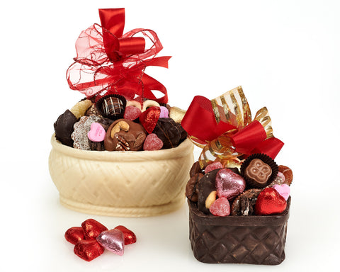 Valentine's Day Edible Filled Chocolate Basket, 1 lb.
