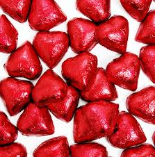 Foiled chocolate hearts