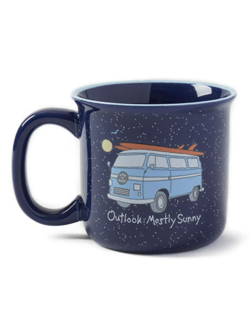"Life is Good ""Mostly Sunny"" Coffee Mug, Darkest Blue"