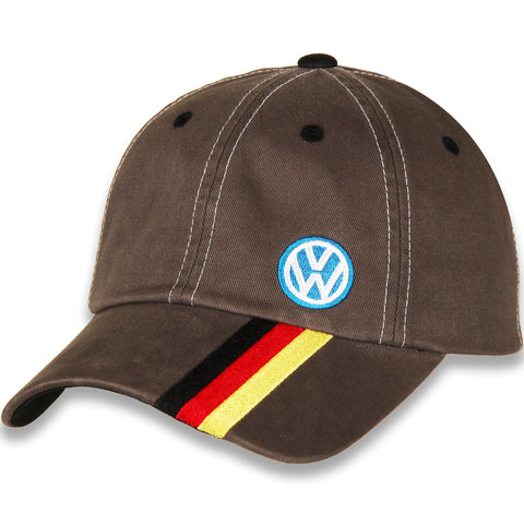 VW Logo Hat, Grey with Stripes
