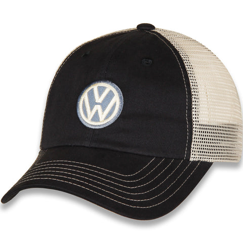 VW Hat, Navy Blue and White with Volkswagen Logo and Mesh Back