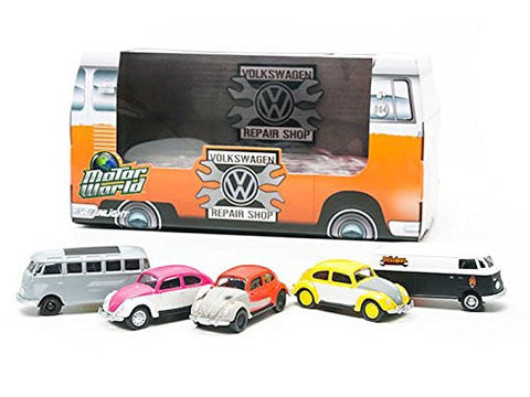 GreenLight Motorworld Volkshaus Repair Shop Set, 5 Car, 1:64 Scale