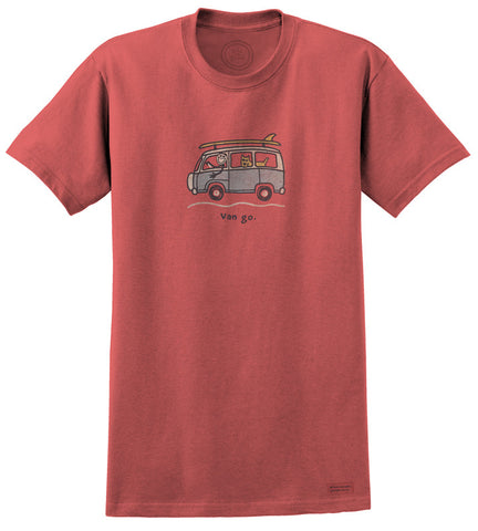 "Life is Good VW ""Surf Van Go"" Men's T-shirt, Barnyard Red"