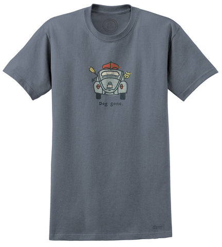 "Life is Good VW ""Bug Dog Gone"" Men's T-shirt, Lake Blue"
