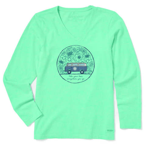 Life is Good Women's Love Bus Long Sleeve Crusher Vee, Spearmint Green