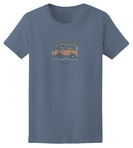 "Life is Good VW ""Jackie Surf Van Go"" Women's T-shirt, Extra Blue"
