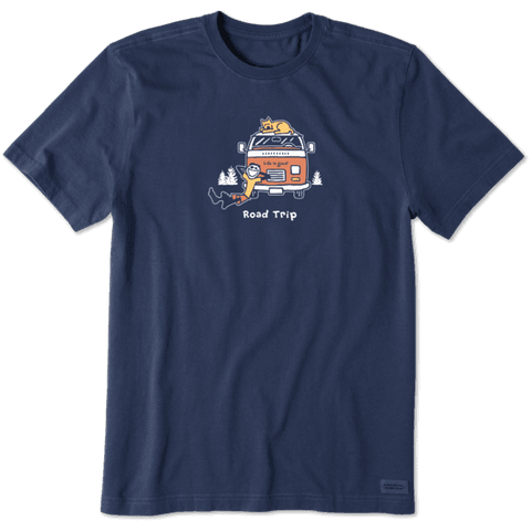 "Life is Good VW ""Road Trip"" Men's Vintage Crusher T-shirt, Darkest Blue"